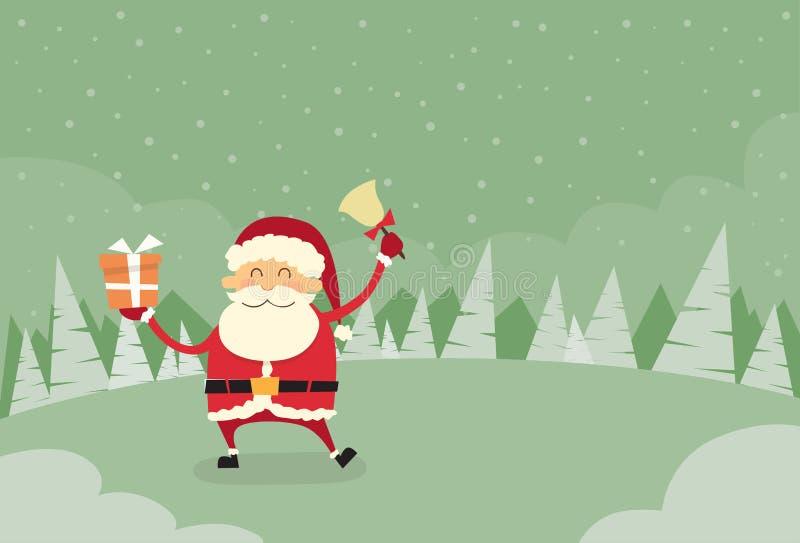 Snö för Santa Claus Hold Bell Present Gift askvinter royaltyfri illustrationer