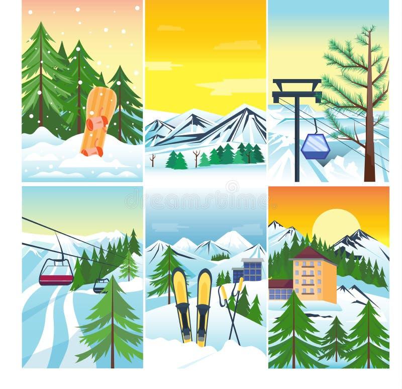 Snö för vinterlandskapvektor och hus- och trädträd För tapettappning för berg snowboard fryst härlig natur xmas vektor illustrationer