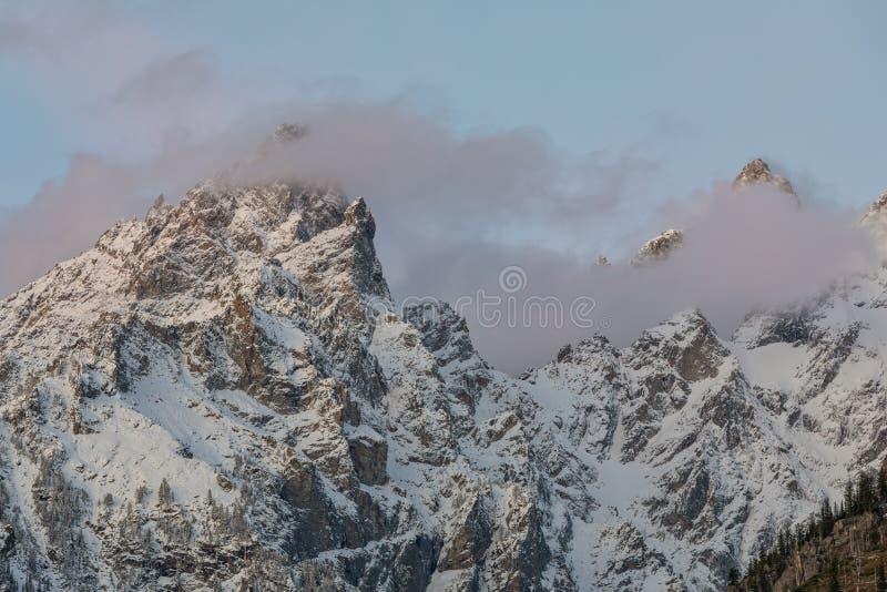 Snö korkade Tetons på soluppgång royaltyfri bild