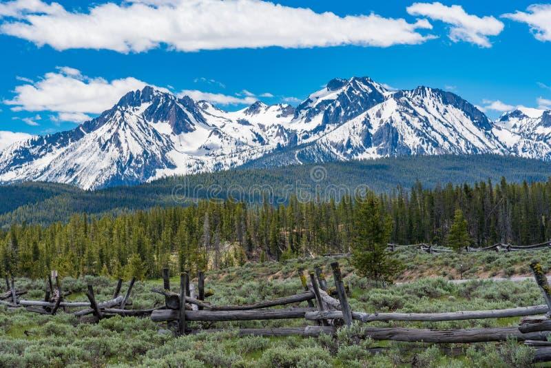Snö-korkat berg längs den sceniska bywayen för Sawtooth fotografering för bildbyråer