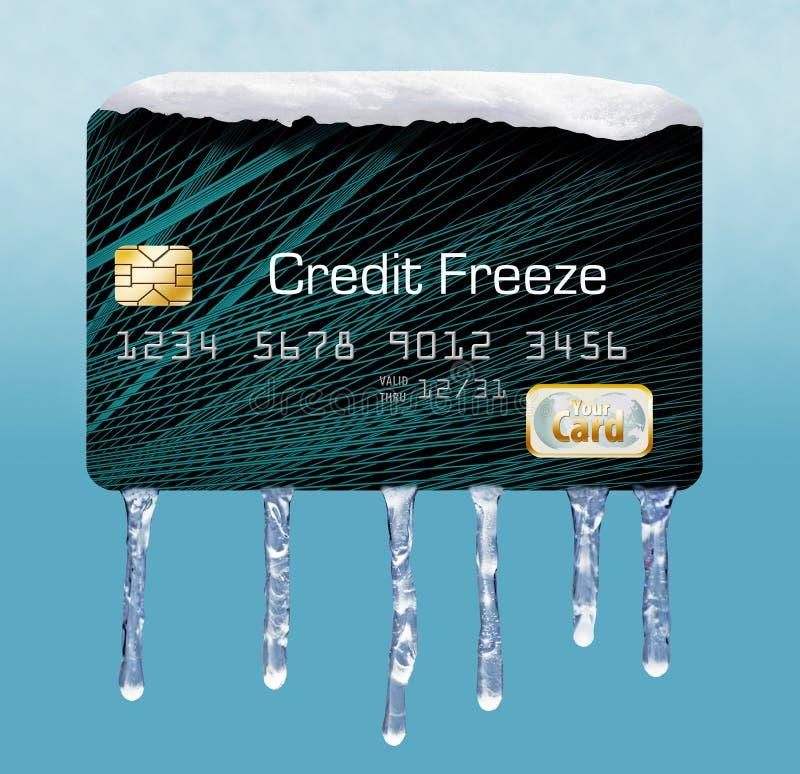 Snö och is på en kreditkort illustrerar temat av att sätta en frysning på din kreditupplysning royaltyfria bilder