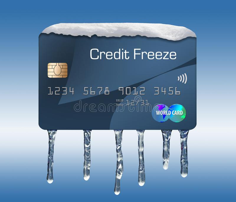 Snö och is på en kreditkort illustrerar temat av att sätta en frysning på din kreditupplysning stock illustrationer