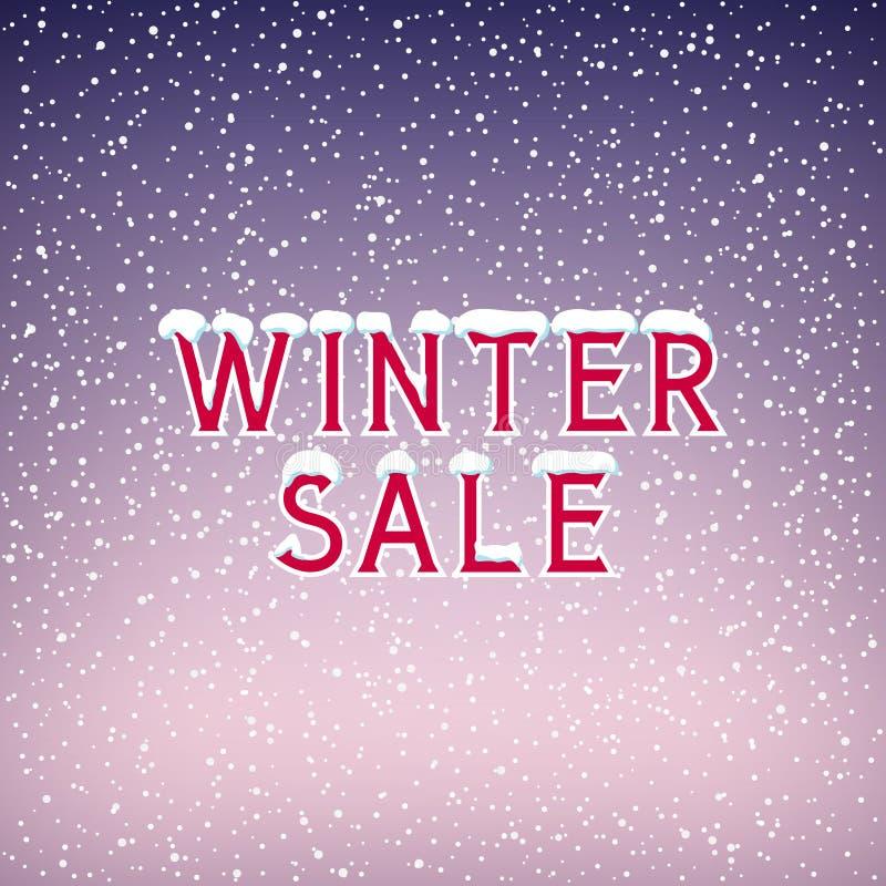 Snö på bokstavsvintern Sale royaltyfri illustrationer