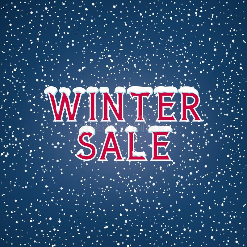 Snö på bokstavsvintern Sale stock illustrationer