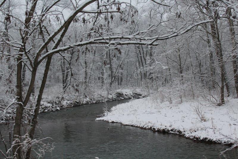 Snö på The Creek fotografering för bildbyråer
