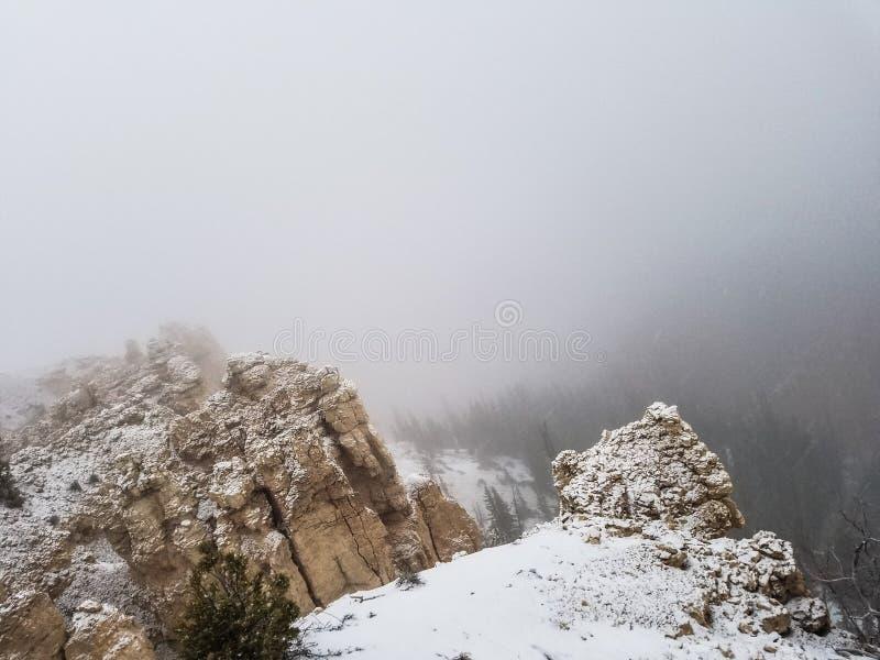 Snö på den Bryce nationalparken arkivbild