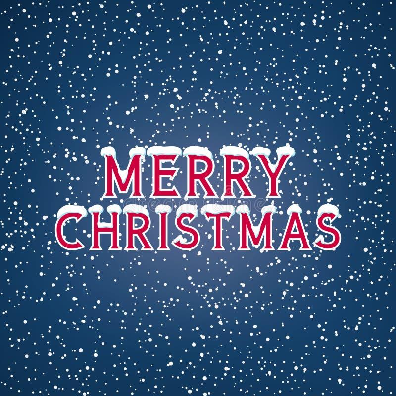 Snö på den glade julen för bokstäver royaltyfri illustrationer