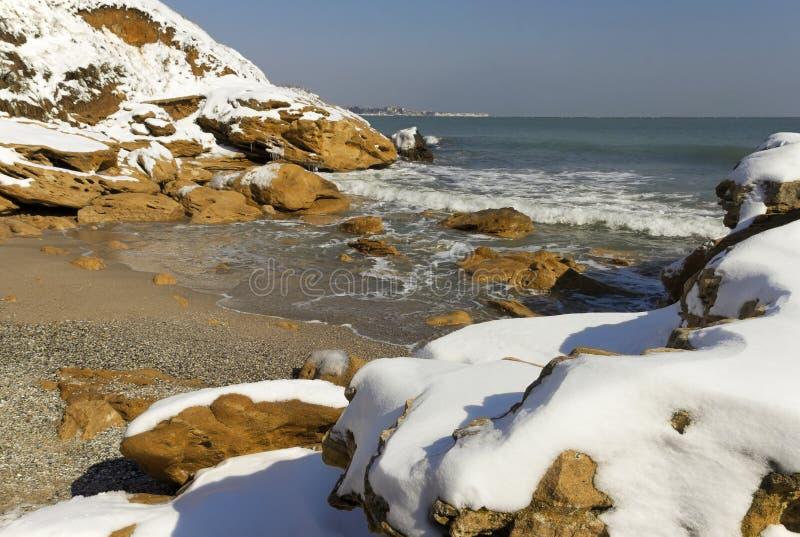 Snö på havet royaltyfri foto