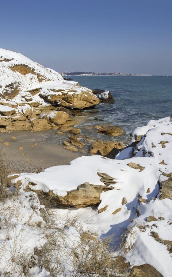 Snö på havet royaltyfri bild