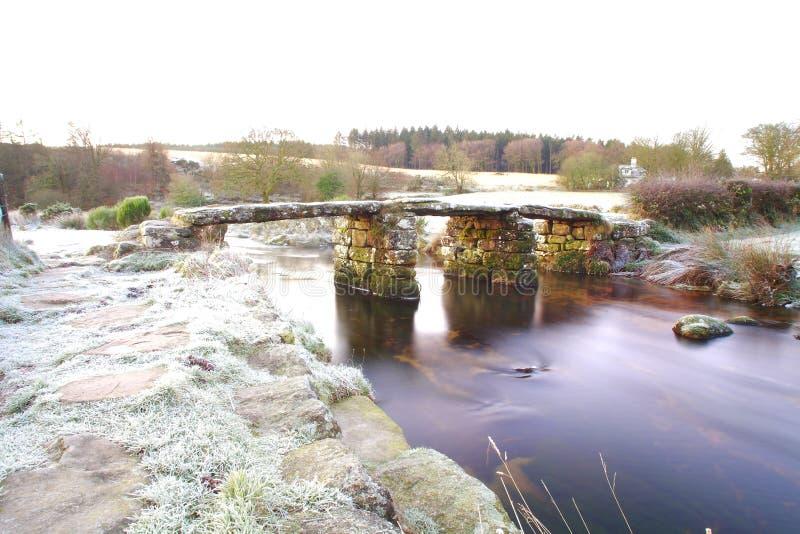 Snö på Postbridge är en hamlet i Dartmoors hjärta fotografering för bildbyråer