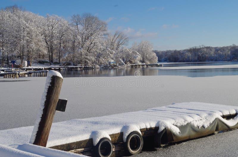 Snö på skeppsdockan royaltyfria foton