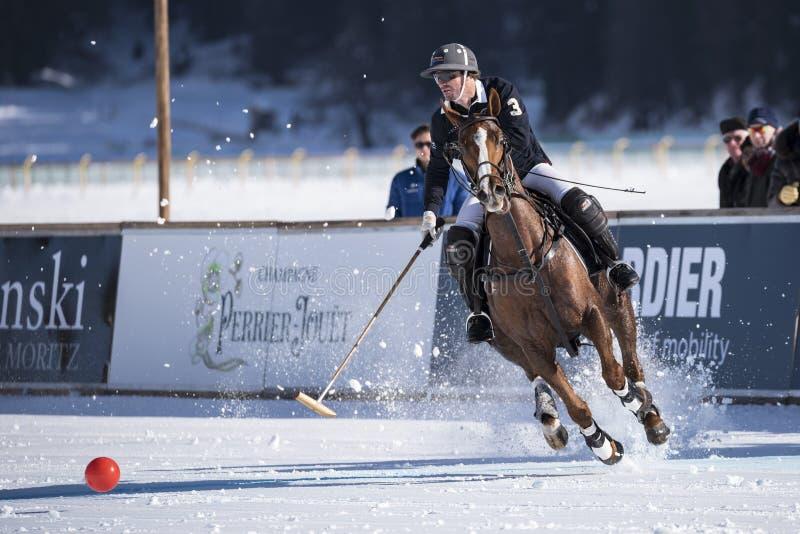 Snö Polo World Cup Sankt Moritz 2016 arkivfoto