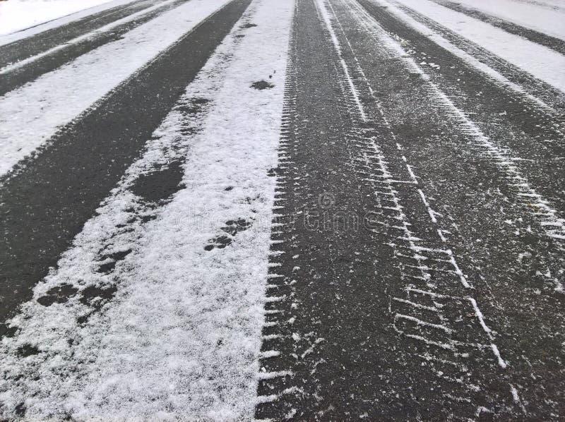 Snö pudrad rutt royaltyfri bild