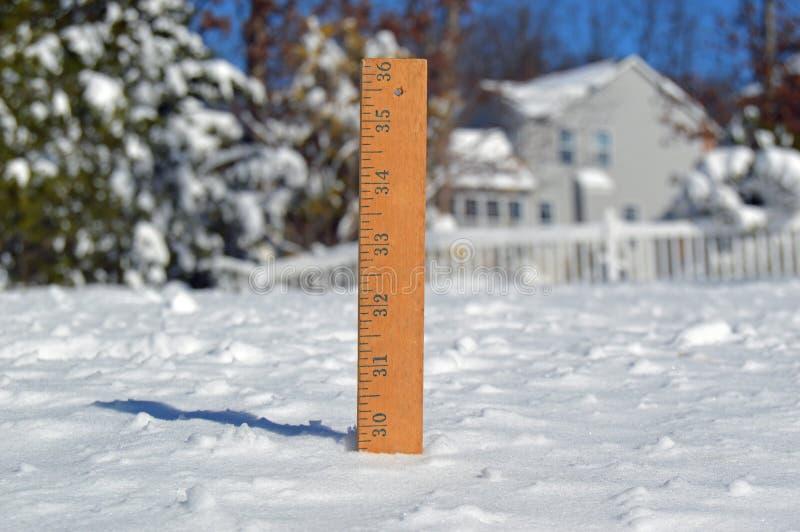 Snö som mäter pinnen royaltyfria bilder