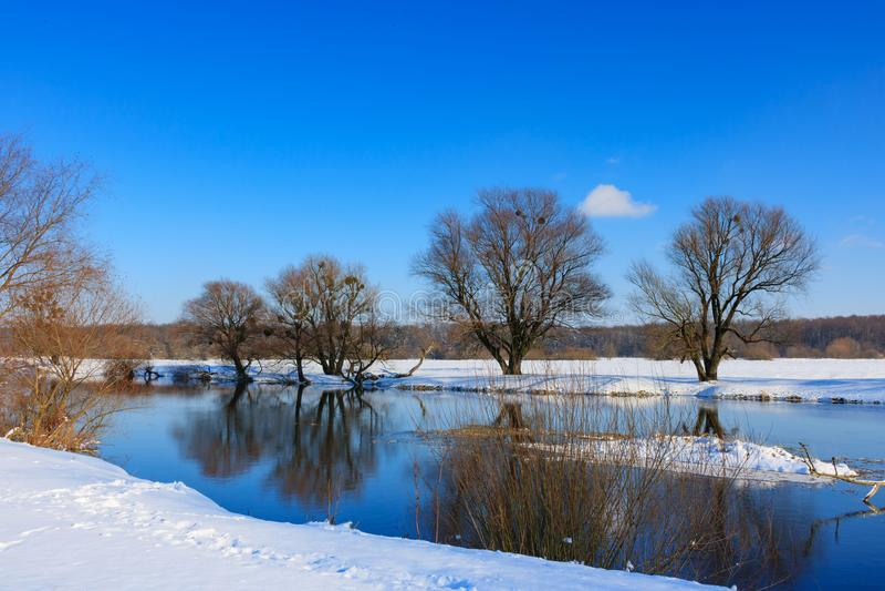 Snö-täckt flodbank på en solig vinterafton för ligganderussia för 33c januari ural vinter temperatur royaltyfri foto