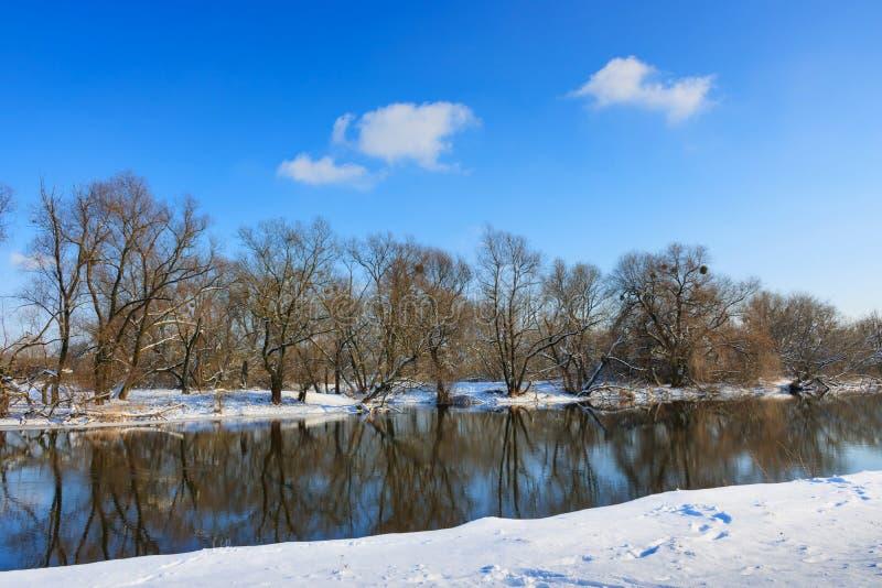 Snö-täckt kust av den lilla floden mot den blåa himlen arkivfoto