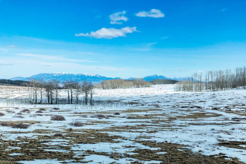 Snö täckt landskap i sydvästliga Utah längs scenisk Byway 1 arkivbild