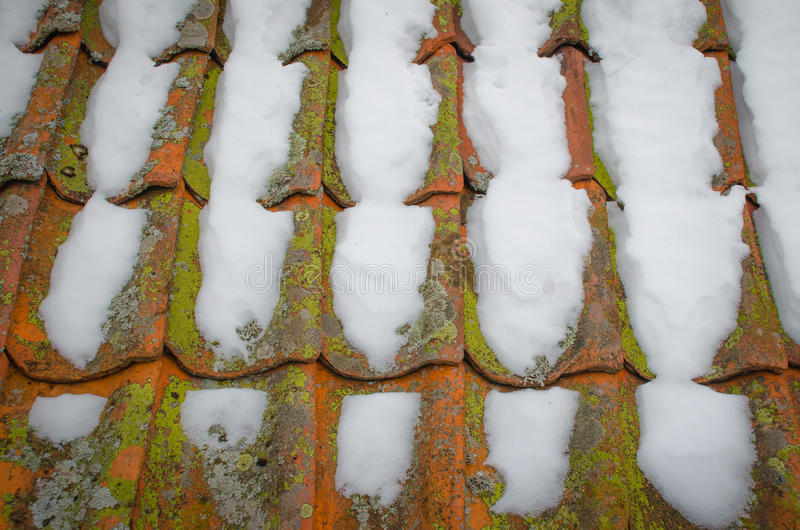 Snö täckt tak royaltyfri fotografi