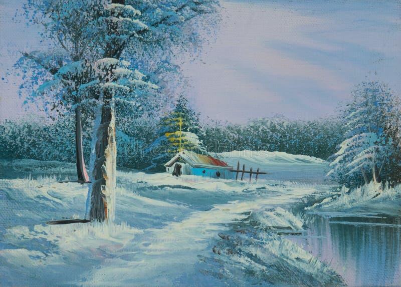 Snö-täckt vinterlandskap med floden och kapellet vektor illustrationer