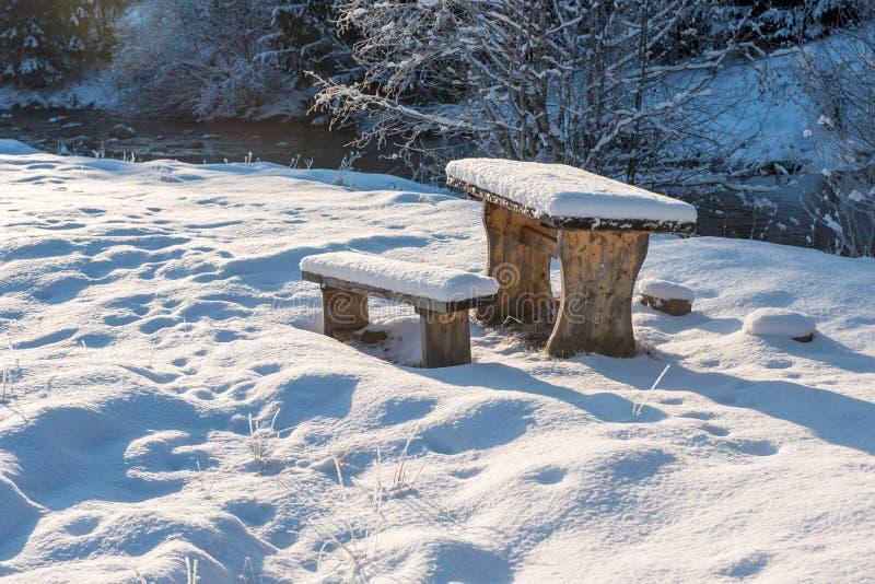 Snö täckte att vila stället med tabellen och bänkar royaltyfri fotografi