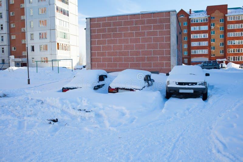 Snö-täckte bilar på parkeringsplatsen, en snöstorm i Ryssland Hjälpmedel för snöborttagning royaltyfri fotografi