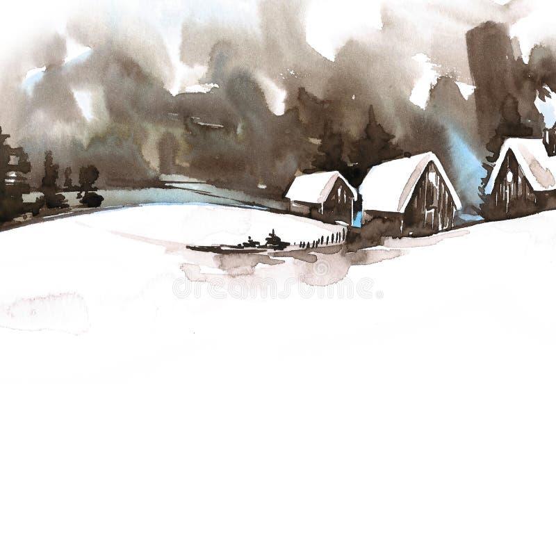 Snö-täckte dal och träd på kullen Kort för hälsning för tappningjulvattenfärg med hemtrevligt bygdvinterlandskap stock illustrationer