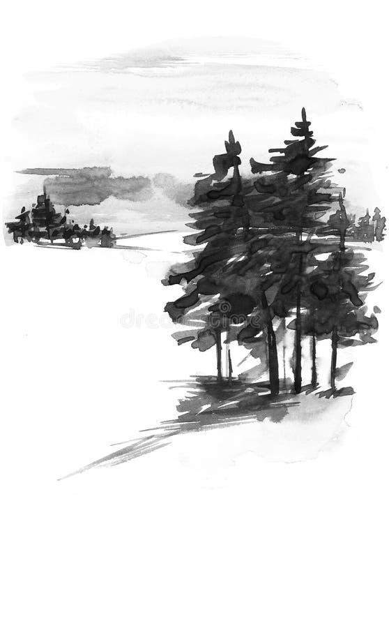 Snö-täckte dal och träd på kullen Kort för hälsning för tappningjulvattenfärg med hemtrevligt bygdvinterlandskap vektor illustrationer