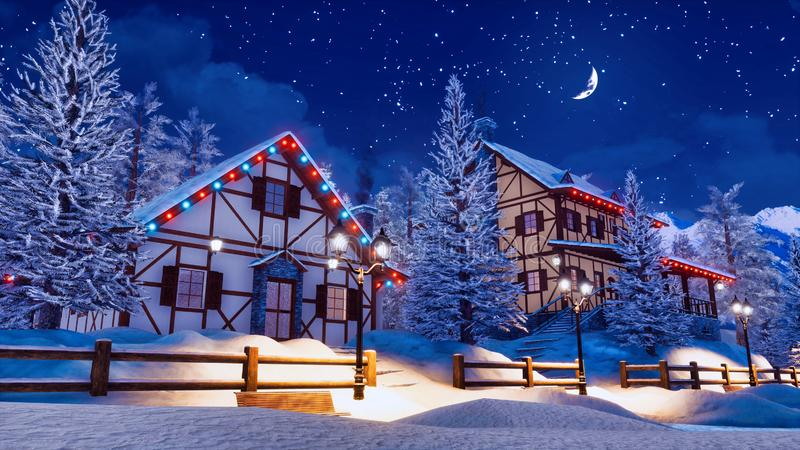 Snö täckte den alpina staden på den stjärnklara vinternatten stock illustrationer