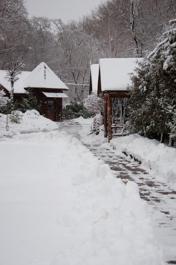 Snö-täckte hus i en vinter parkerar, gjort klar en bana av tegelplattor och drivor royaltyfria bilder