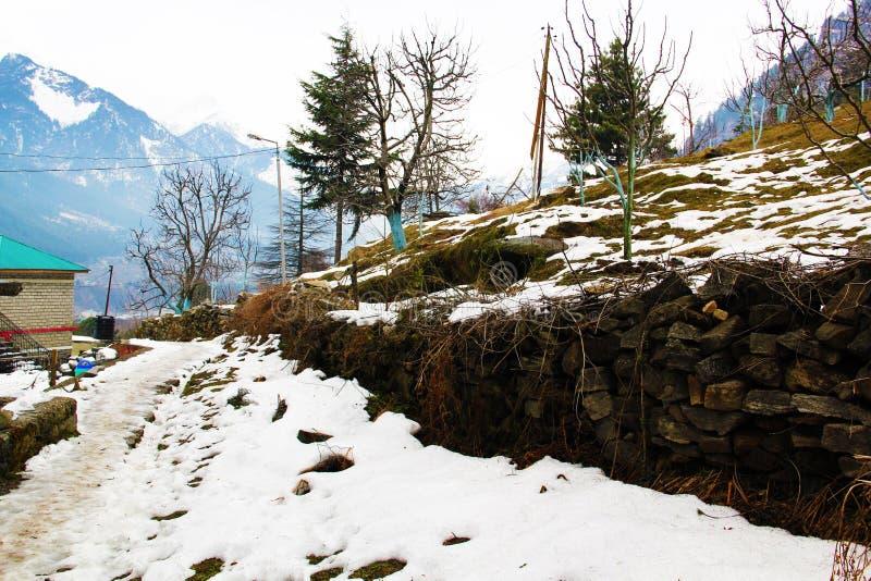 Snö täckte land i den Himalayan bergdalen arkivbild
