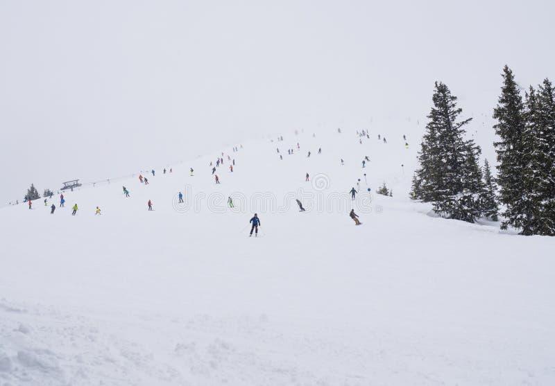Snö täckte skidar lutningspisten i Zell f.m. ser med folkmassan av färgrika skidåkare på den dimmiga vinterdagen, kopieringsutrym royaltyfri foto