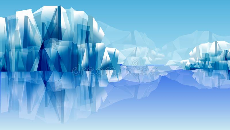 Snö vaggar eller bergreflexionen på vattnet abstrakt vektorillustration som bakgrundsserve till wallpaperen