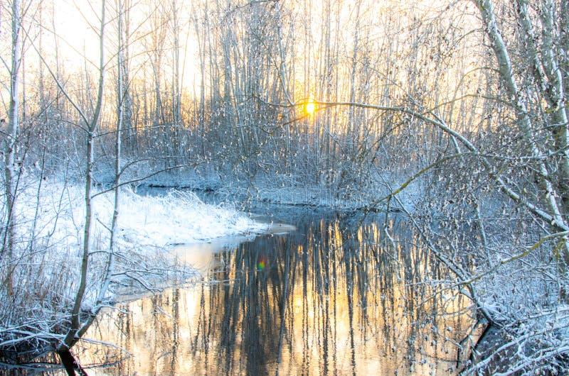 Snö vid en bäck på skymning arkivfoto