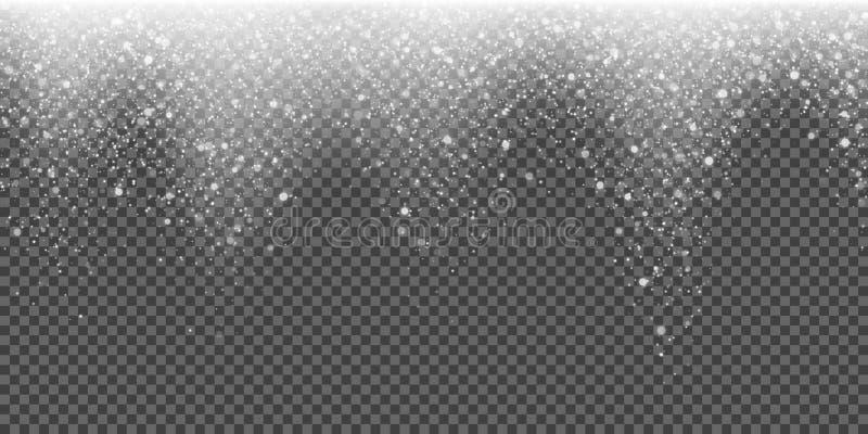 Snöa att falla blänka snöflingan som den ljusa vektorvintern blänker partikeljul som mousserar bakgrund stock illustrationer