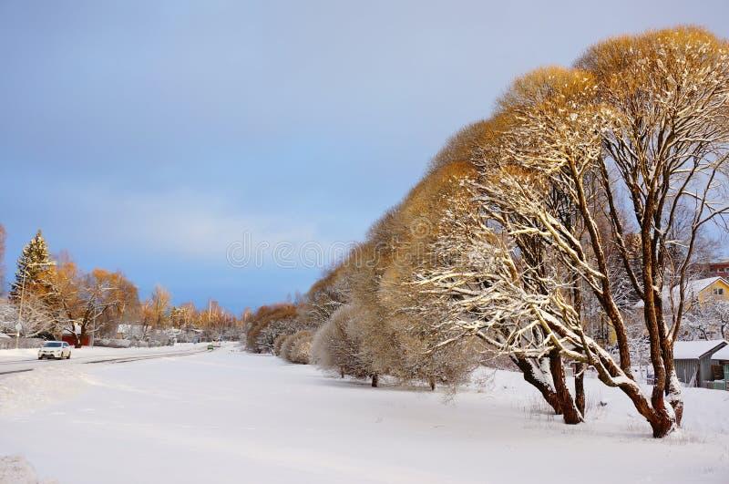 Snöa den dolda vägen i vinter och molnig dag Solljus till överkanten av fotografering för bildbyråer