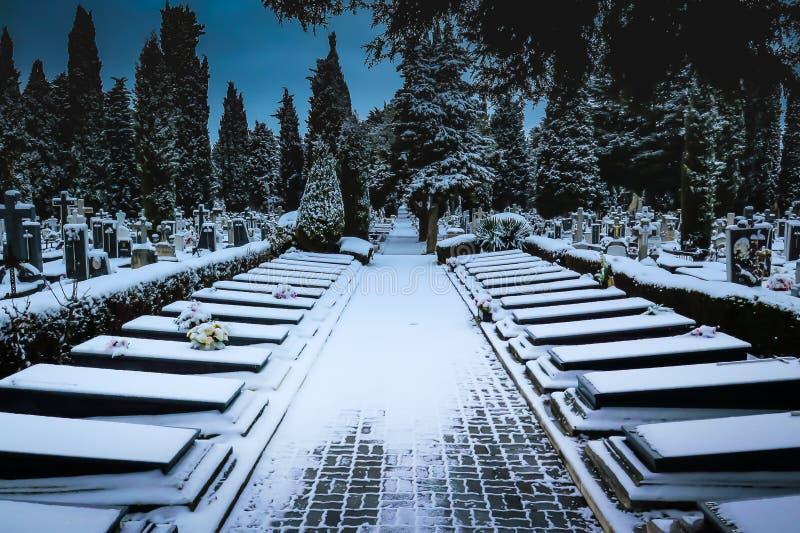 Snöa i kyrkogårdSten Jose Burgos arkivfoto