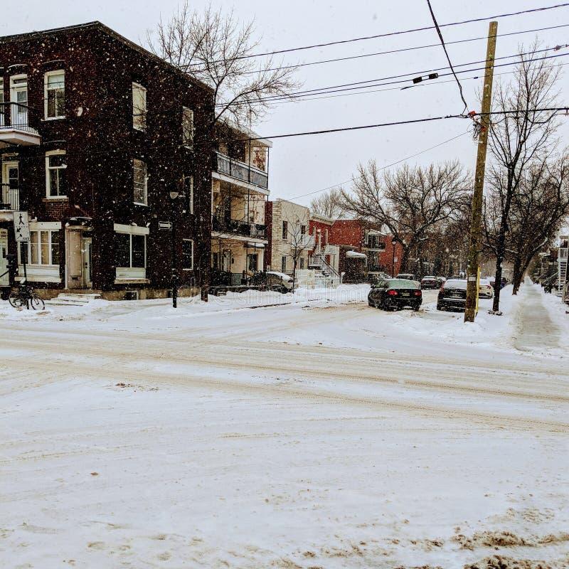 Snöa i Montréal royaltyfria foton