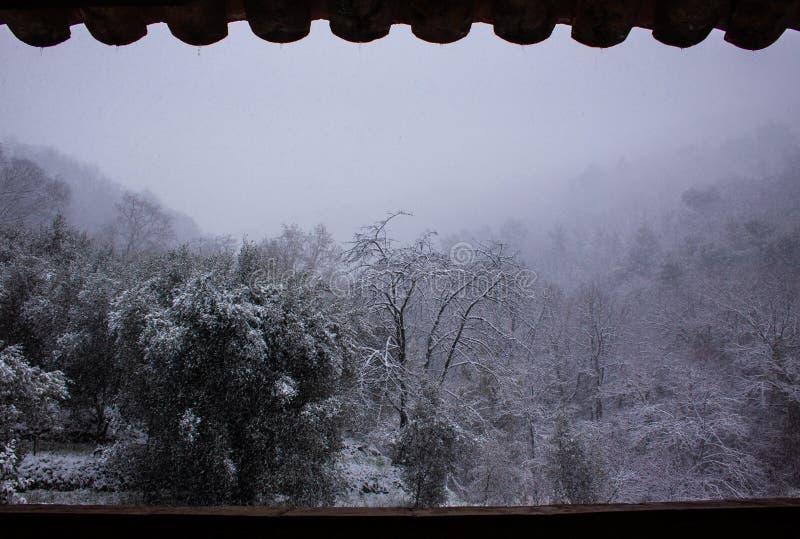 Snöa i Vence söder av Frankrike fotografering för bildbyråer