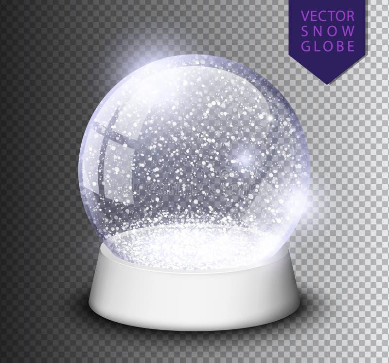 Snöa jordklotet isolerade mallen som är tom på genomskinlig bakgrund Magisk boll för jul Realistisk illustration för Xmas-snowglo vektor illustrationer