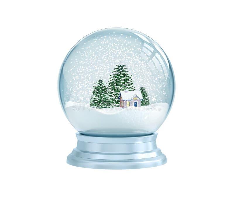 Snöa jordklotet med huset och sörja träd stock illustrationer