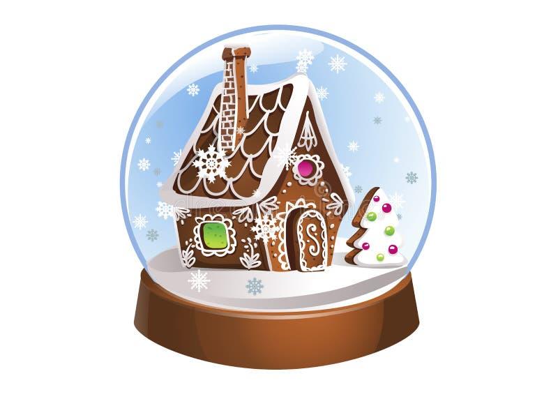 Snöa jordklotet med pepparkakahuset och snöflingor inom julen dekorerar nya home idéer för garnering till Kristallkula som isoler stock illustrationer