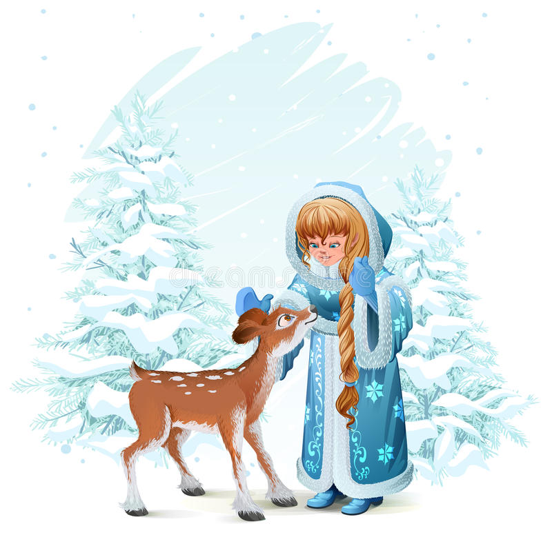 Snöa jungfrun i blått pälslag och lisma bland sörjer träd i vinterskog stock illustrationer