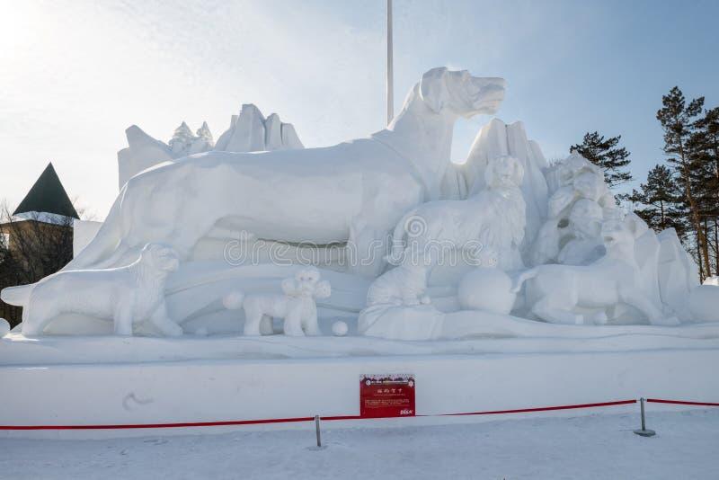 Snöa liv 2018 för skulpturer för skulpturHarbin snö som detaljen för snöcarvings in fine royaltyfria bilder