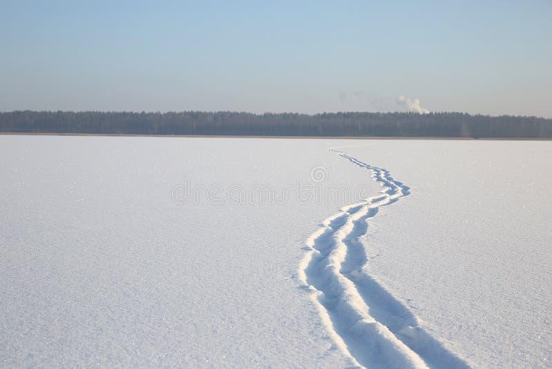 Snöa på yttersidan av den djupfrysta sjön fotografering för bildbyråer