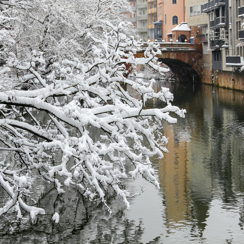 Snöa Pegnitz- för den dolda filialfloden den gamla staden Nuremberg, Tyskland royaltyfria foton
