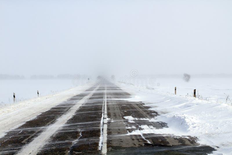 Snöa vägen royaltyfri foto