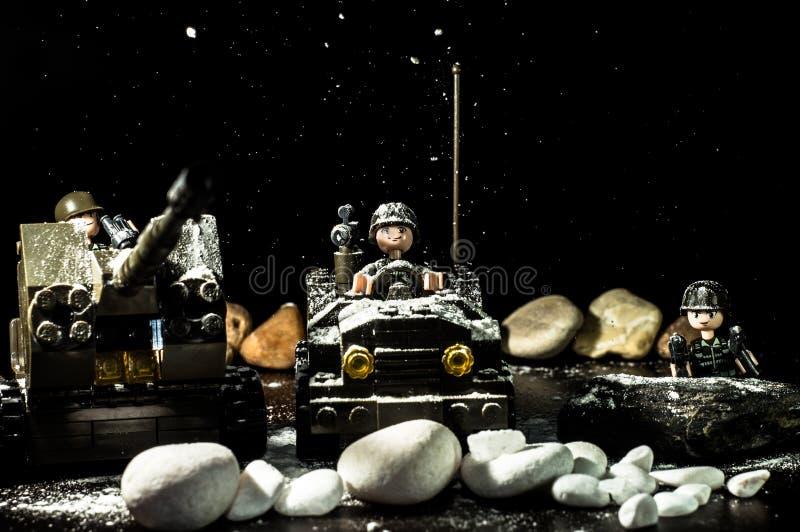Snöar över Lego fotografering för bildbyråer
