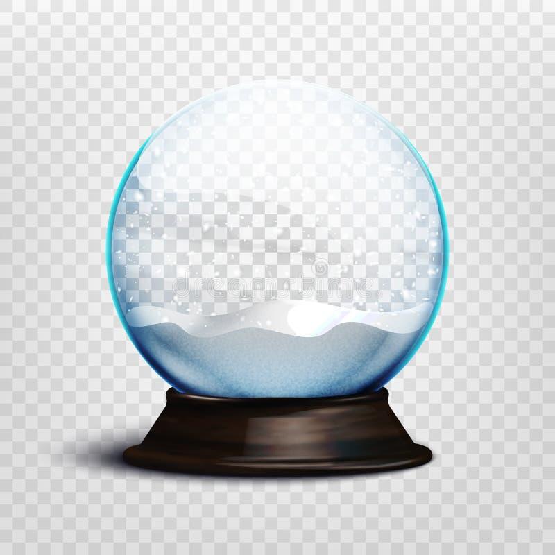 Snöar realistisk tom jul för materielvektorillustration jordklotet som isoleras på en genomskinlig bakgrund 10 eps stock illustrationer