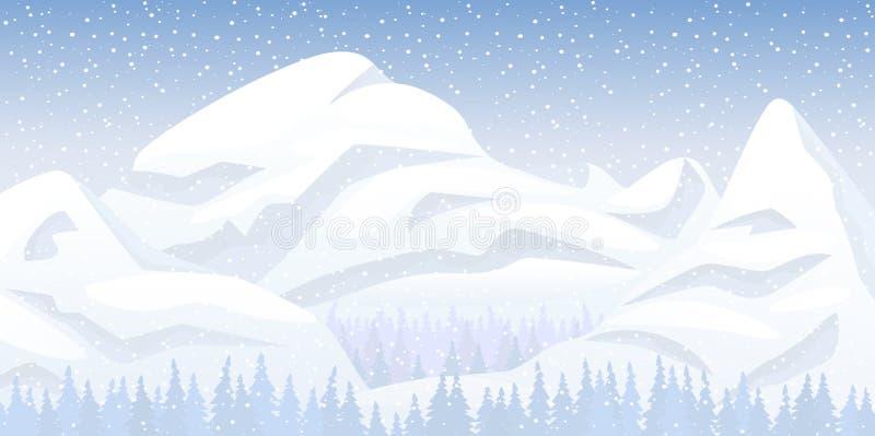 Snöberglandskap royaltyfri illustrationer