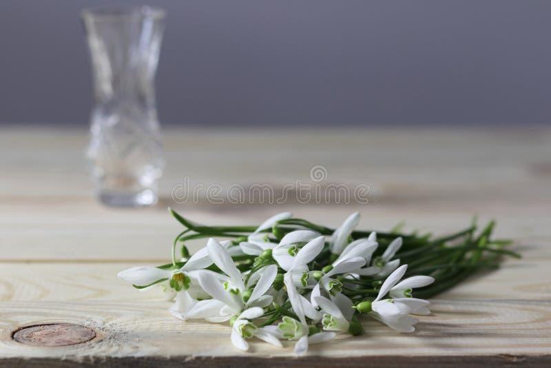 Snödroppar på tabellen buketten blommar fjädern Snödroppebakgrund Våren blommar på trätabellen Ferieskrivbord Ferie fl arkivbild